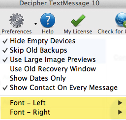how to change font size in Decipher TextMessage