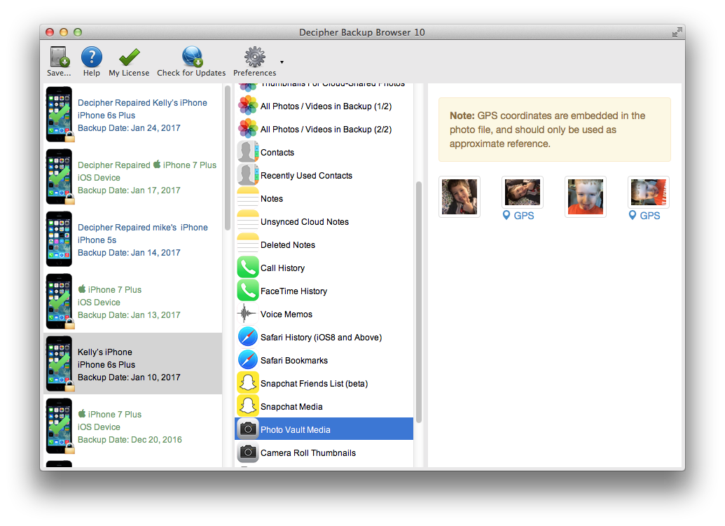 Previewing Photo Vault app images and videos in Decipher Backup Browser.